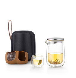 Wholesale clear travel cup - 260ml Travel glass tea sets a pot of two cups of creative portable travel outdoor fast cup