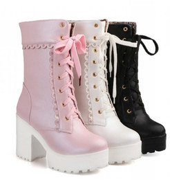 eva blocks Coupons - Wholesale-Lolita pink black white lace up tied high heel student shoes sweet lady cosplay platform chunky block mid calf short boots 43