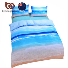 Wholesale Cheap Duvets - BeddingOutlet New Beach And Ocean Bedding Set Hot 3D Print Duvet CoverSet Cheap Vivid Bedclothes Blue Quilt Cover Set AU SIZE