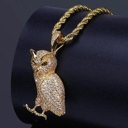 Wholesale Owl Black - 2018 Gold Silver Color Plated Iced Out Micro Pave CZ Stone Animal Owl Pendant Necklace Hip Hop Jewelry with 60cm Rope Chain #HP34