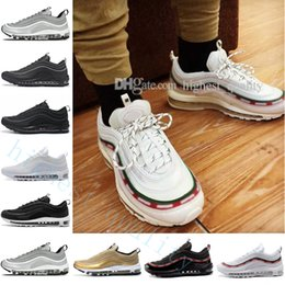 Wholesale Neon Green Laces - 97 Hybrid Neon Silver Bullet Reflect Reflective 97s 97 OG QS Metallic Gold Silver Bullet Triple Black ALL White 3M PRM Sports Running Shoes