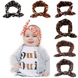 Wholesale Leopard Print Baby Headbands - Baby Leopard Rabbit ears Headbands kids Leopard printing Hair band cotton infant Hair band 6 colors C1770
