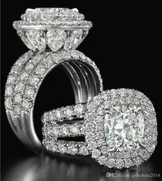 Perla conjunto de la boda online-Victoria Wieck impresionante joyería de lujo par de anillos de plata de ley 925 pera cortada zafiro esmeralda multi piedras preciosas anillo nupcial de la boda