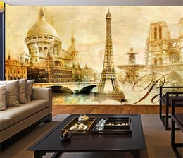 Wholesale Eiffel Tower Backgrounds - Retro Nordic TV Wallpaper Large seamless mural living room sofa Eiffel Tower background wall building personality