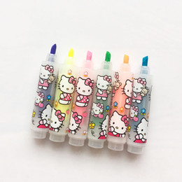 Wholesale Painting Tool Box - Wholesale-6pcs box Kawaii Mini Owl Hello Kitty Highlighters Student Stationery Mark Pens Drawing Painting Tool Children Gift