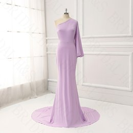 Wholesale Fitted One Shoulder Sexy Dress - Long elegant evening dresses real Lavender one shoulder fit sexy dress evening wear long sleeve prom dress