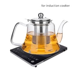 Wholesale free teapot - Free shipping new arrival special for induction cooker glass teapot With stainless steel infuser filter kettle