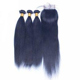 Nouveau produit faisceaux de trame de cheveux raides soyeux avec fermeture à lacets 4x4 couleur bleue tissage de cheveux humains avec fermeture supérieure 4pcs lot ? partir de fabricateur