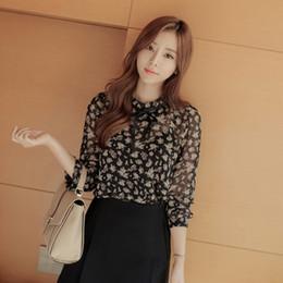 Wholesale Elegant Ruffled Blouses - Wholesale-Women Chiffon Shirt Blouse Ladies Elegant Woman Clothes Tops Long Sleeve Print 5Xl 2016 Fashion Blusa Social Femenina 50P0121