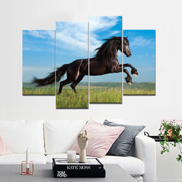 Wholesale Horse Picture Frames - The Black Horse Frameless Paintings 4pcs No Frame Printd on Canvas Arts Modern Home Wall Art HD Print Painting