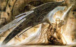 2019 malerei bestellen Luis Royo Fantasy Art Angel Hug, Ölgemälde Hohe Qualität Giclée-Druck auf Leinwand Modern Home Art Decor 3889