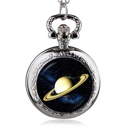 Wholesale Cool Pocket Watches - New Super Cool Yellow Shura Clamshell Planet Fashion Pocket Watch Men And Women Fine Hanging Table Drop Shipping