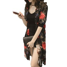 Wholesale Elegant Summer Cardigans - 2017 Summer Long Chiffon Blouse Shirt Elegant Rose Flowers Print Kimono Cardigan Loose Plus Size Half Sleeve Lady Long Cardigan