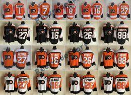 Wholesale Orange Bills - Vintage Philadelphia Flyers 1 Bernie Parent 8 Dave Schultz Bill Barber Ron Hextall 88 Eric Lindros Brian Propp Bobby Clarke Hockey Jersey