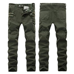 Wholesale Jeans Pocket Pattern - Spring Men Army Green Punk Jeans Zippered Pockets Mens Biker Jeans Straight Fit Green Motorcycle Jeans Size 28-42