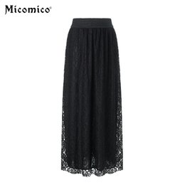 f4914cfc05 2018 faldas de otoño Maxi cintura alta plisada elasticidad falda de encaje  de moda Faldas de estilo coreano Boho Women Femme falda larga