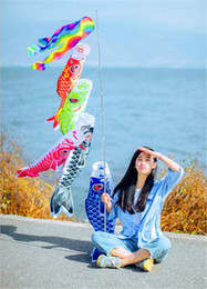 Wholesale Fish Party Decorations - New Fish Wind Streamer For Wedding Party Decorations Japanese Style Carp Winds Sock Flag Polyester Windsock Koinobori Banner