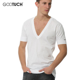 g hombre camisetas blancas Rebajas 2017 Summer Modal Deep V Neck Men's Undershirts Short Sleeve Undershirt Hombres Blanco Camiseta Plus Size 4XL 5XL 6XL Top Tees G-3003