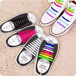 red flat shoelaces Promo Codes - 16Pc Set Silicone ShoeLaces Fashion Boy Elastic No Tie All Sneakers Fit Strap