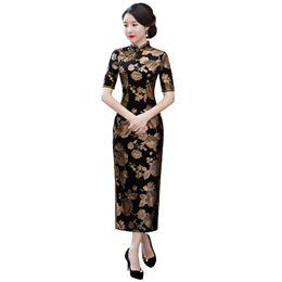Argentina Shanghai Story 2018 Otoño Nueva Venta Floral Qipao Velvet Cheongsam Vestido largo Vestido tradicional chino para mujer Suministro