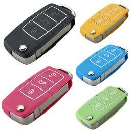 vw chiave fob caso Sconti 3 Button Car Replacement Keyless Pieghevole Flip Key Fob Shell Custodia Cover Blade per VW Jetta Beetle Con Uncut Blade