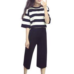 9905d9dc8a Plus size suit women vertical stripe short sleeve t-shirt blouses capri  pants stretch female two pieces set big clothing inexpensive vertical  striped shirt ...