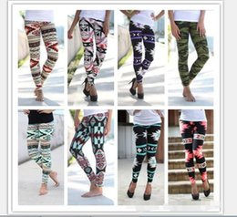 Wholesale Elastic Ankle Length Trousers Legging - Printed Leggings Casual Skinny Legging Stretchy Slim Pencil Pants Women Fashion Trousers Elastic Geometric Leggings wholesale