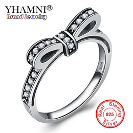 Wholesale jewelry black bow rings - YHAMNI New Fashion Design Original 925 Sterling Silver Bow Rings For Women Lovely Bowknot CZ Diamond Wedding Rings Jewelry RPT003