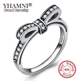 Wholesale Black Diamond Set Jewelry Ring - YHAMNI New Fashion Design Original 925 Sterling Silver Bow Rings For Women Lovely Bowknot CZ Diamond Wedding Rings Jewelry RPT003