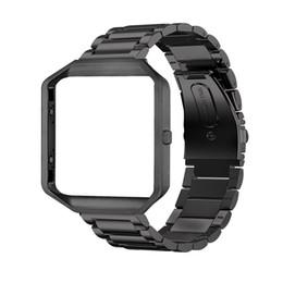 Рамка корпус + браслет из нержавеющей стали замена ремешок смотреть Band для Fitbit Blaze смарт-фитнес-часы (черная сталь + рамка) от Поставщики черные полосы из нержавеющей стали