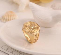 Wholesale Wholesale Hanger - classic Mens Ring Fashion Medusa ring Head Gold Silver Color Black Male Finger Ring For Men Women Size 7-12