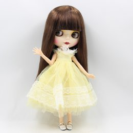 Wholesale Plastic Doll Joints - free shipping factory blyth doll long straight brown hair joint body shiny face 1 6 gift toy BL0057-5000