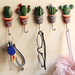 Wholesale Flower Pot Hooks - 1 Pc Artificial Flower Pot plant Wall Hook Cactus Adhesive Home Decor Storage Organizer Key Rack Bathroom Kitchen Towel Hanger