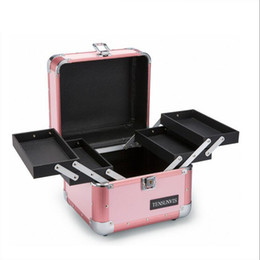 "Wholesale Makeup Train Cases - Makeup Cosmetic Organizer Train Case 10"" Professional Aluminum Storage Box Blush Pink Stripe with Lock and Handles"