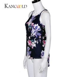 Wholesale Sleeveless Hoodie T - KANCOOLD tank tops cropped Summer crop top hoodie Women Sleeveless Flower Printed Tank Top Casual Blouse Vest T Shirt jan19