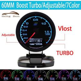 Wholesale race display - HB 7-Color-in- Gauge Turbo Boost Gauge GRedi 7 Light Colors LCD Display With Voltage Meter 60mm 2.5 Inch With Sensor Racing Gaug
