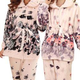Wholesale Ladies Long Sleepwear - Winter Warm Flannel Pajamas Set Women Sleepwear Ladies Pajamas Set Floral Print Coats Long Pants Velvet Fleece Robe Nightwear