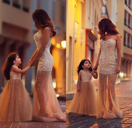 Wholesale Sheath Ivory Flower Girl Dresses - 2018 Sexy Said Mhamad See Sheer Sheath Flower Girls Dresses for Wedding Mother and Daughters V-Neck Beads Teens Juniors Girl Pageant Gowns