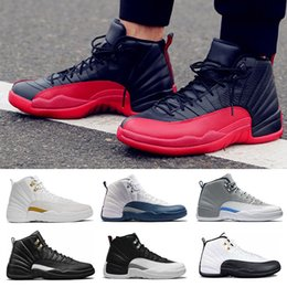 Wholesale Masters Media - AAA+ 12 XII basketball shoes man bordeaux French blue TAXI Flu Game Playoffs wool gym Varsity RED the master Sneakers Athletics sport shoes