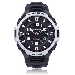 Wholesale boys lighting watch - XONIX Brands Men Sports Watch Quartz Waterproof 100m Analog EL Back Light Big Dial Fashion Boy Sports Swim Diver Wristwatch Gift