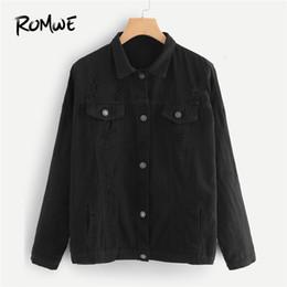 Длинная черная джинсовая куртка онлайн- Black Drop Shoulder Ripped Denim Jacket Spring Women Casual Plain Clothing 2018 Autumn Long Sleeve Single Breasted Coat
