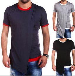 männer irreguläre hemden Rabatt Mens-Rundhalsausschnitt-T-Shirts gefälschte zwei Stücke unregelmäßiges T-Shirt Neue Art des T-Stücks 3 Farben