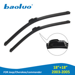 """Wholesale Car Commander - 2 PCS 18""""&18"""" Windshield Wiper Blades For Jeep Cherokee Commander 2003 2004 2005 Natural Rubber,Bracketless,Windscreen Wipers,Car Accessorie"""