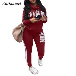 2698dd0dfff9 Pink Letter Print Tracksuits Women Two Piece Set 2018 Autumn Long Sleeve  Hoodies Tops + Jogger Pants Set Sweatsuit 2pcs Outfits