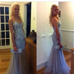 Wholesale Long Diamond Prom Dresses - Cheap Long Mermaid Prom Dresses 2018 Silver Beaded Glitter Diamond Rhinestone Formal Maxi Prom Gown Heavy Hand Evening Gowns