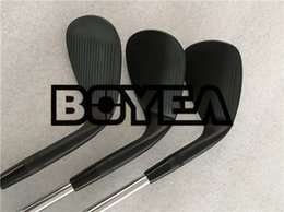 Wholesale wedge set 54 58 - BOYEA Left Hand Golf Clubs SM7 Wedges Set Jet Black SM7 Golf Wedges 50 52 54 56 58 60 Steel Shaft With Cover