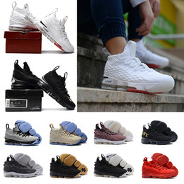 Wholesale Ash Black Sneakers - (With Box) Black Gum 15 Mesh surface XV PE 15S Men women Of White Ghost Ashes Basketball Shoes Red training Sneakers 40-46
