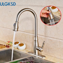 Wholesale Cover Decks - Ulgksd Brushed Nickle Kitchen Faucet Pull Out Sprayer Deck Mounted Cover Hot and Cold Water Taps Bathroom Faucet Mixer