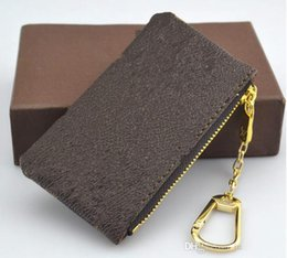 Wholesale Plain Key Chains - 2018 KEY POUCH Damier canvas holds high quality wallet famous classical designer women key holder coin purse small leer