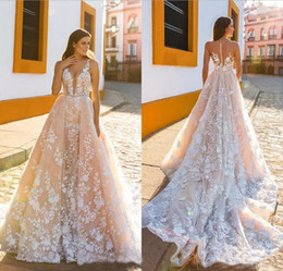 Discount gorgeous gown design - Gorgeous Crystals Design Sexy V Neck Full Lace Wedding Dresses 2018 Sleeveless Appliques Sheer Button Back A Line Bridal Gowns Chapel Train